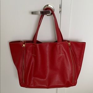 💯 Authentic leather red bag